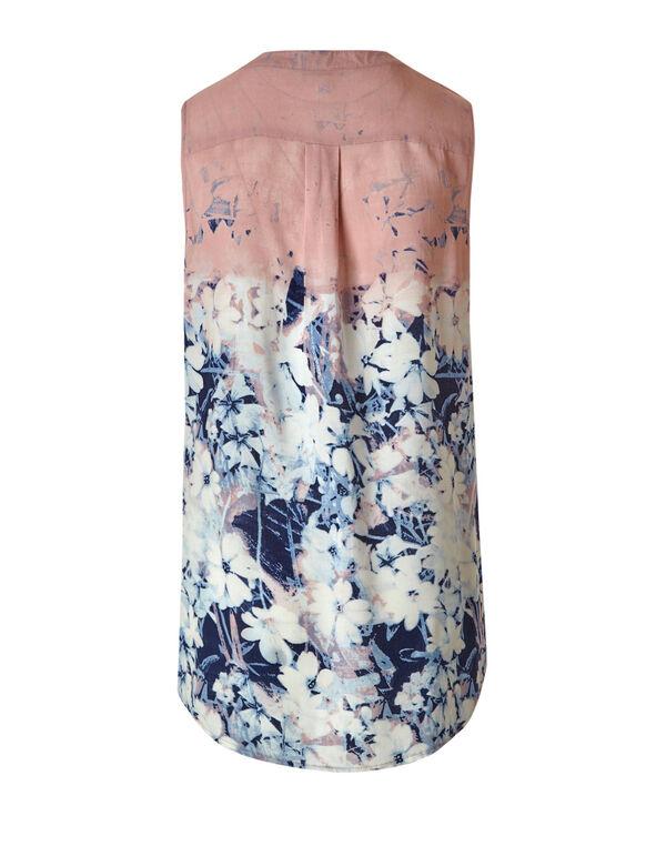 Blue Floral Peasant Blouse, Pink/Blue, hi-res