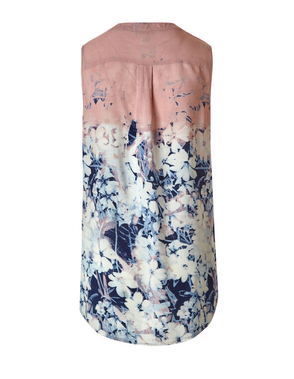 Blue Floral Peasant Blouse, Blue/White/Pink, hi-res