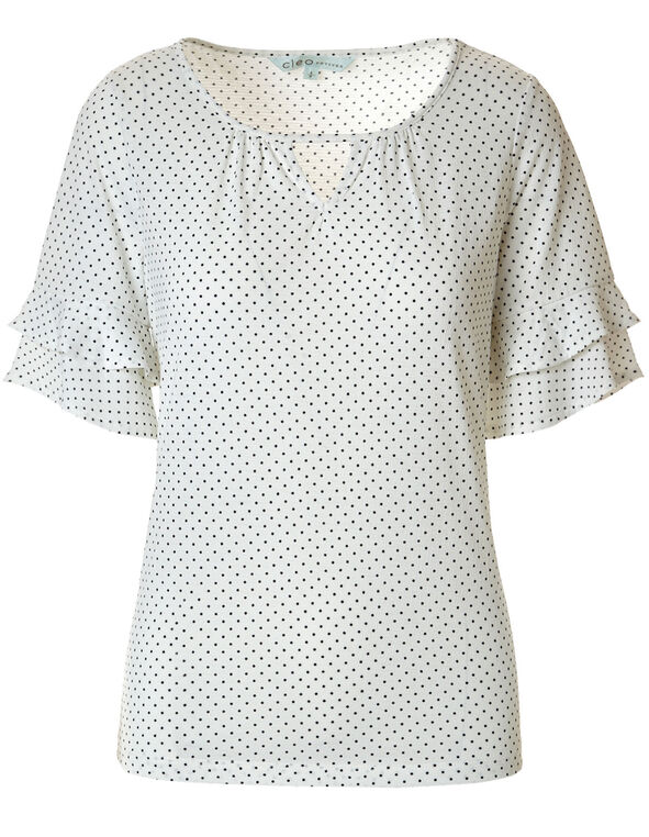 Ivory Dotted Bell Sleeve Top, Ivory/Black, hi-res