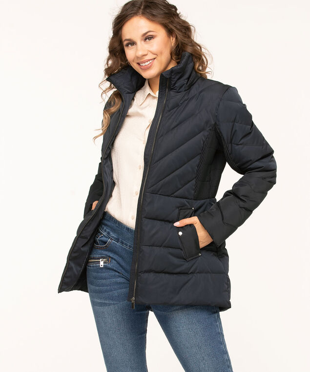 Navy Feather Down Pintuck Coat, Navy, hi-res