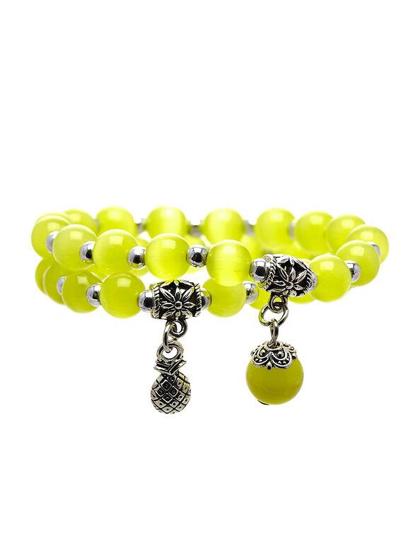 Yellow Cat Eye Beaded Bracelet, Yellow, hi-res