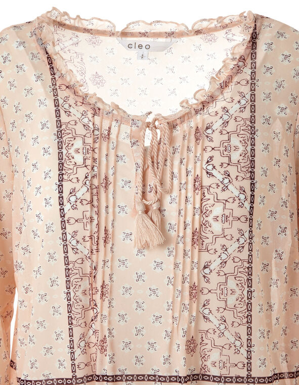 Pink Printed Knit Chiffon Top, Pink, hi-res