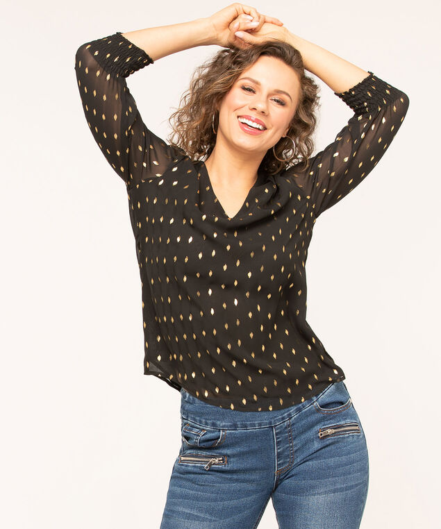 Black Puff Sleeve Blouse, Black/Gold, hi-res