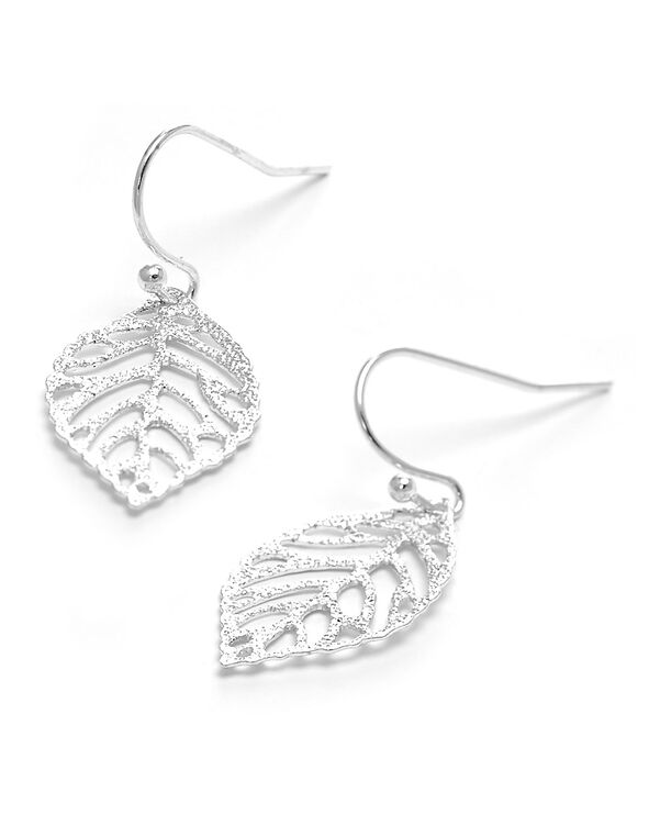 Silver Metal Leaf Earring, Silver, hi-res
