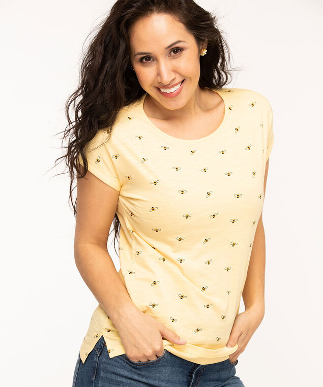 Patterned Cotton Slub Tee, Yellow Bees