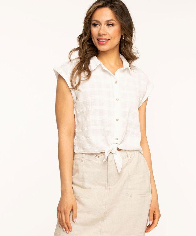 Button Front Tie Blouse, White