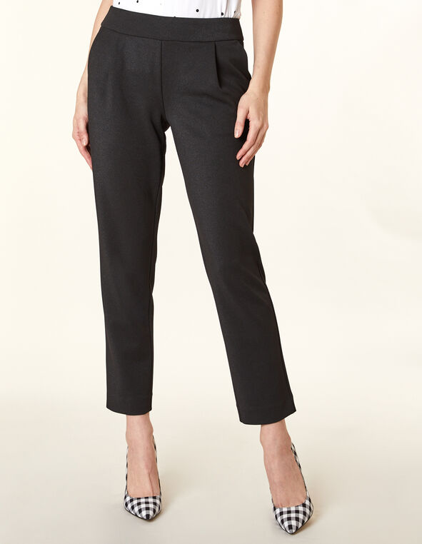 Black Knit Pull On Slim Pant, Black, hi-res
