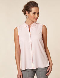 Carnation Pink Collared Button Blouse