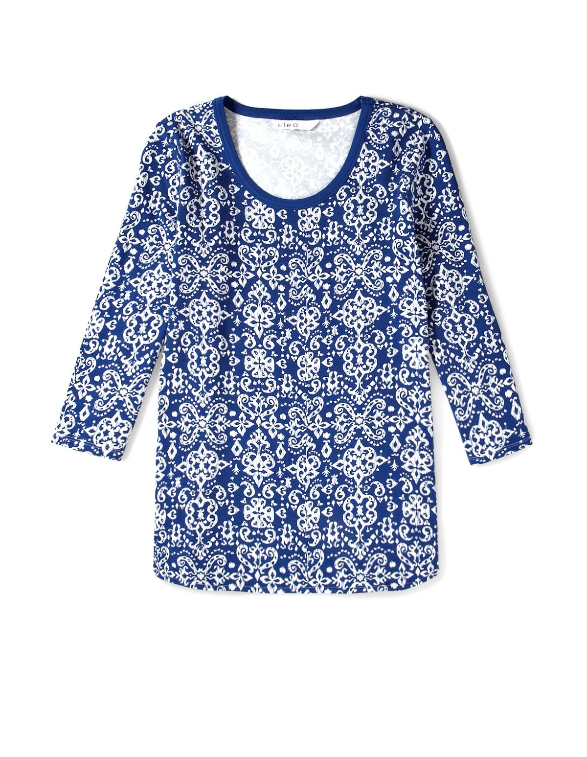 5e35699e325dab Printed 3/4 Sleeve Pajama Top, Blue/Ivory, hi-res