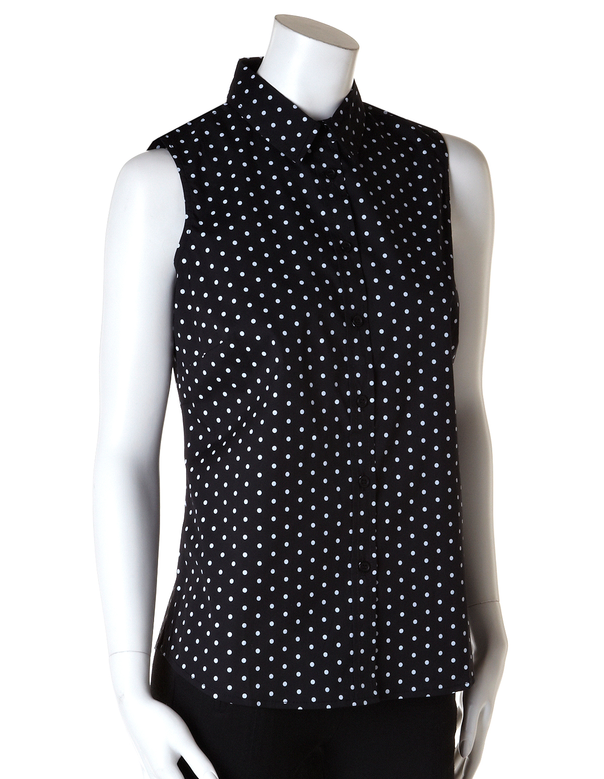 A salaried staple, dames! A charming button up blouse in a deep black, boasting a sleeveless top, back yoke, and darting for feminine form with a classic collar. Crafted in a sturdy woven cotton blend, it's the consummate canvas. You've got this!Available in sizes S-L while supplies last.