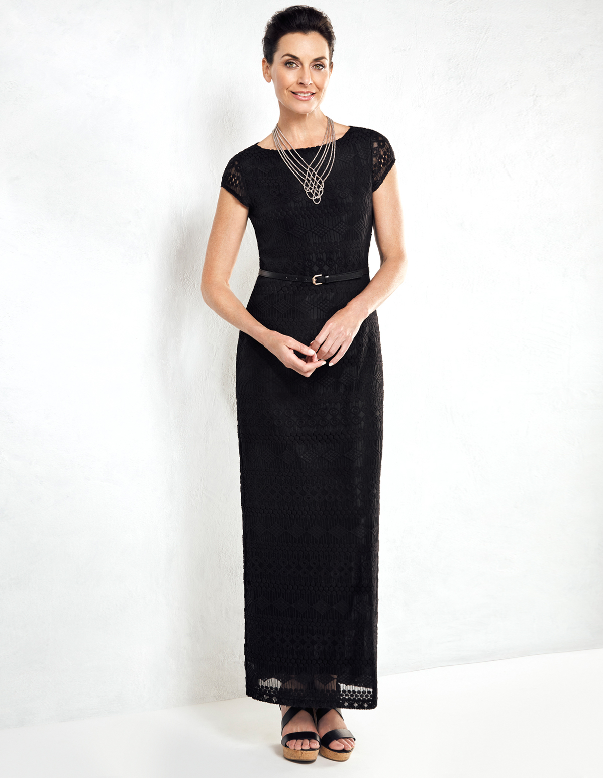 black lace maxi dress with belt cleo