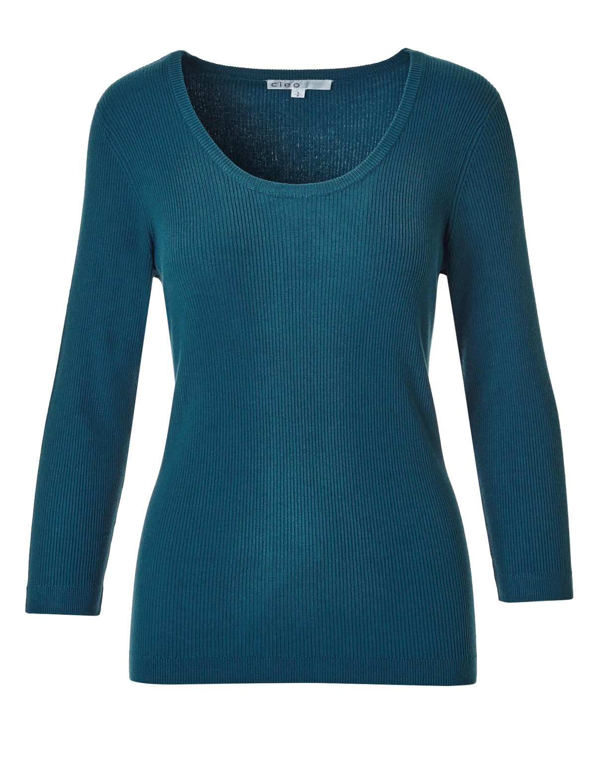 Turquoise Ribbed Pullover Sweater | Cleo