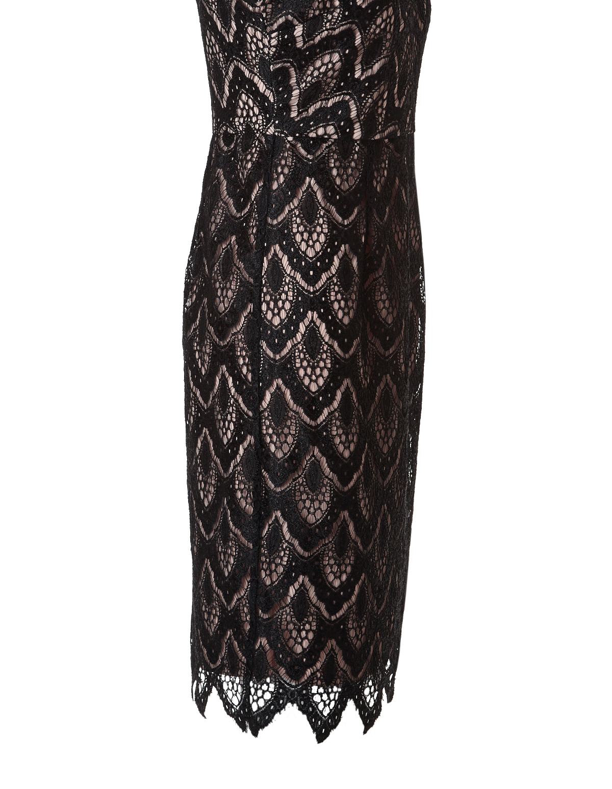 Illusion Neckline Black Lace Dress