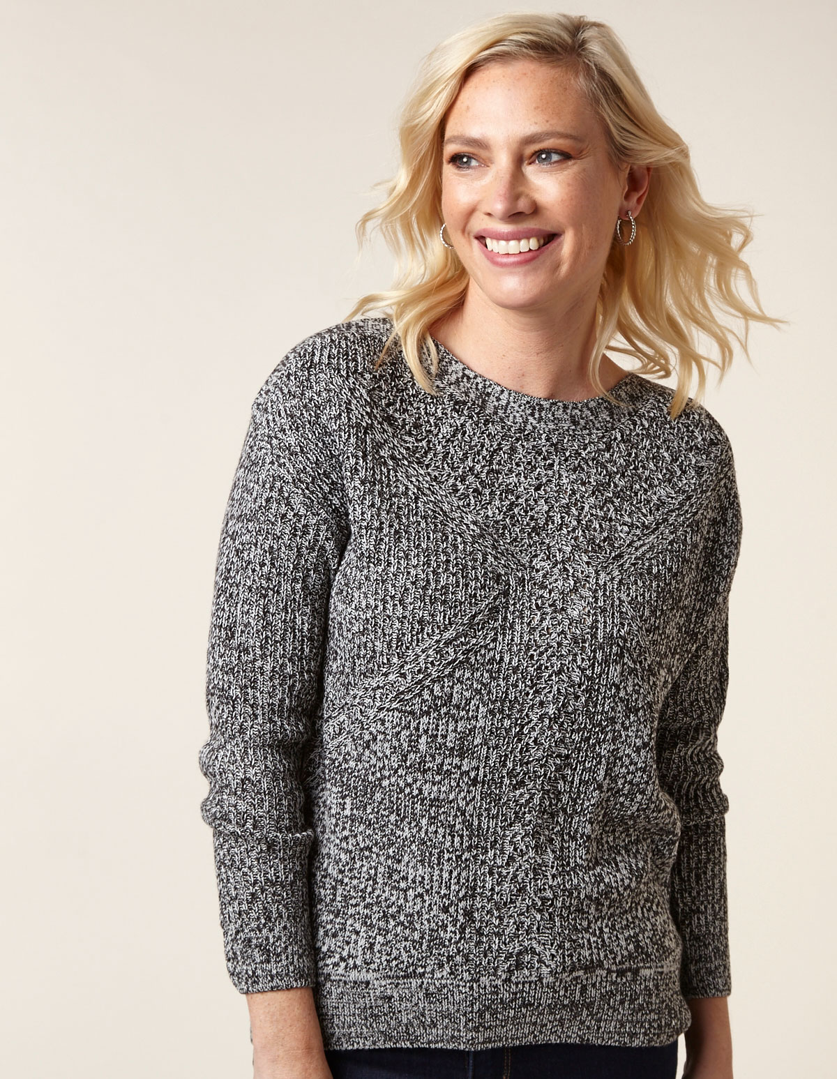 Grey Mix Drop Sleeve Sweater, Grey, hi-res