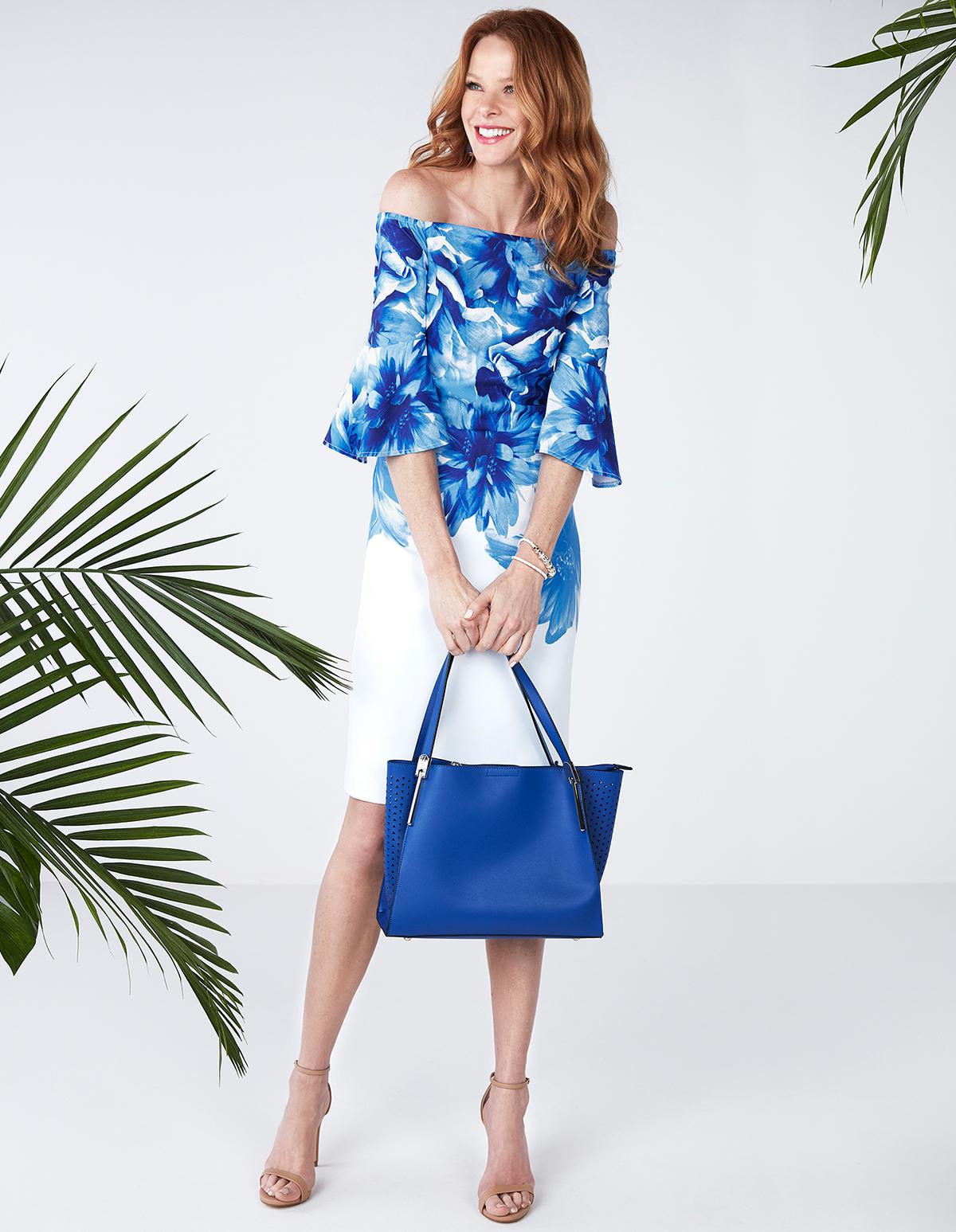 f289c788330c Blue Floral Off Shoulder Dress