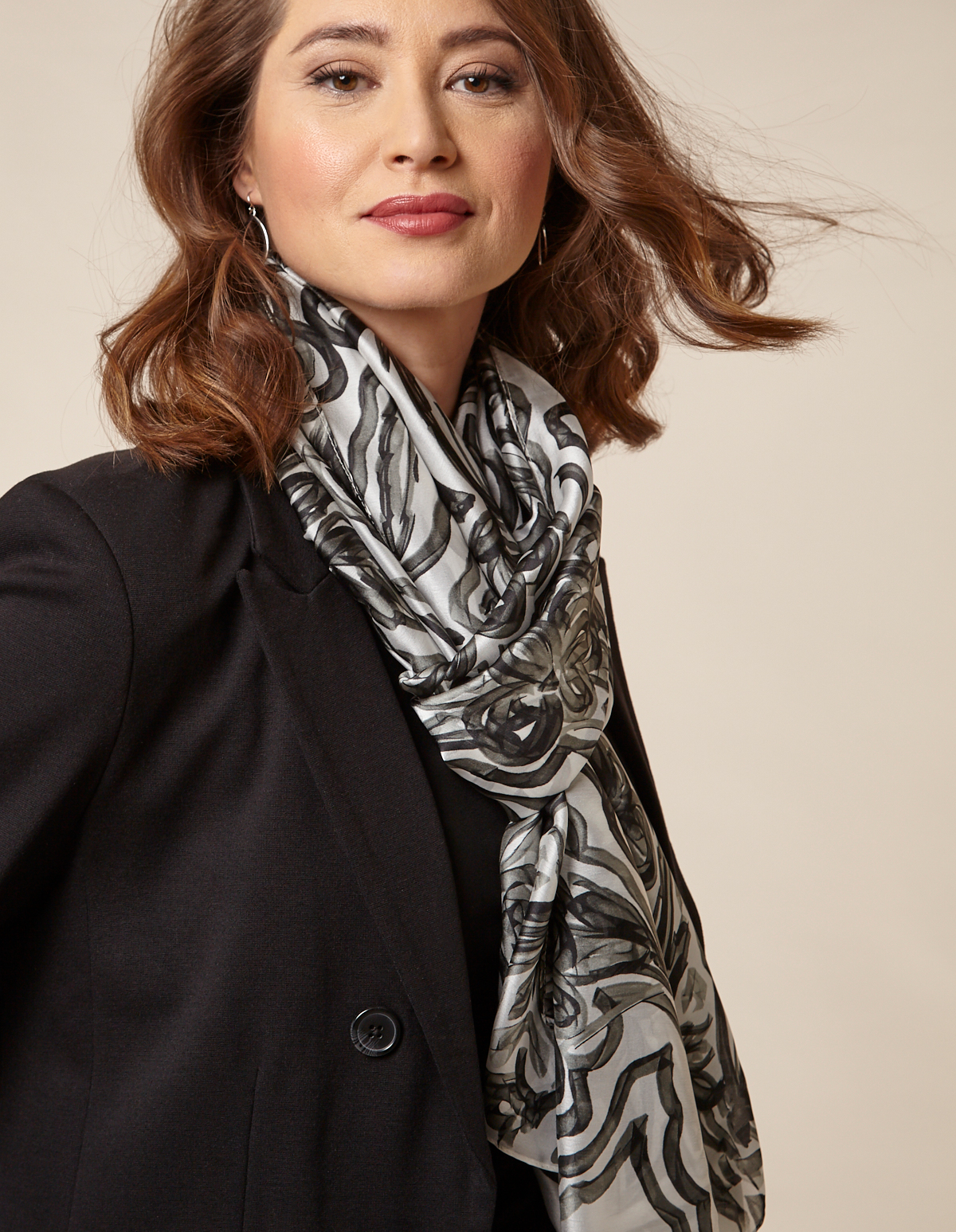 Black Silky Floral Scarf, Black/White, hi-res