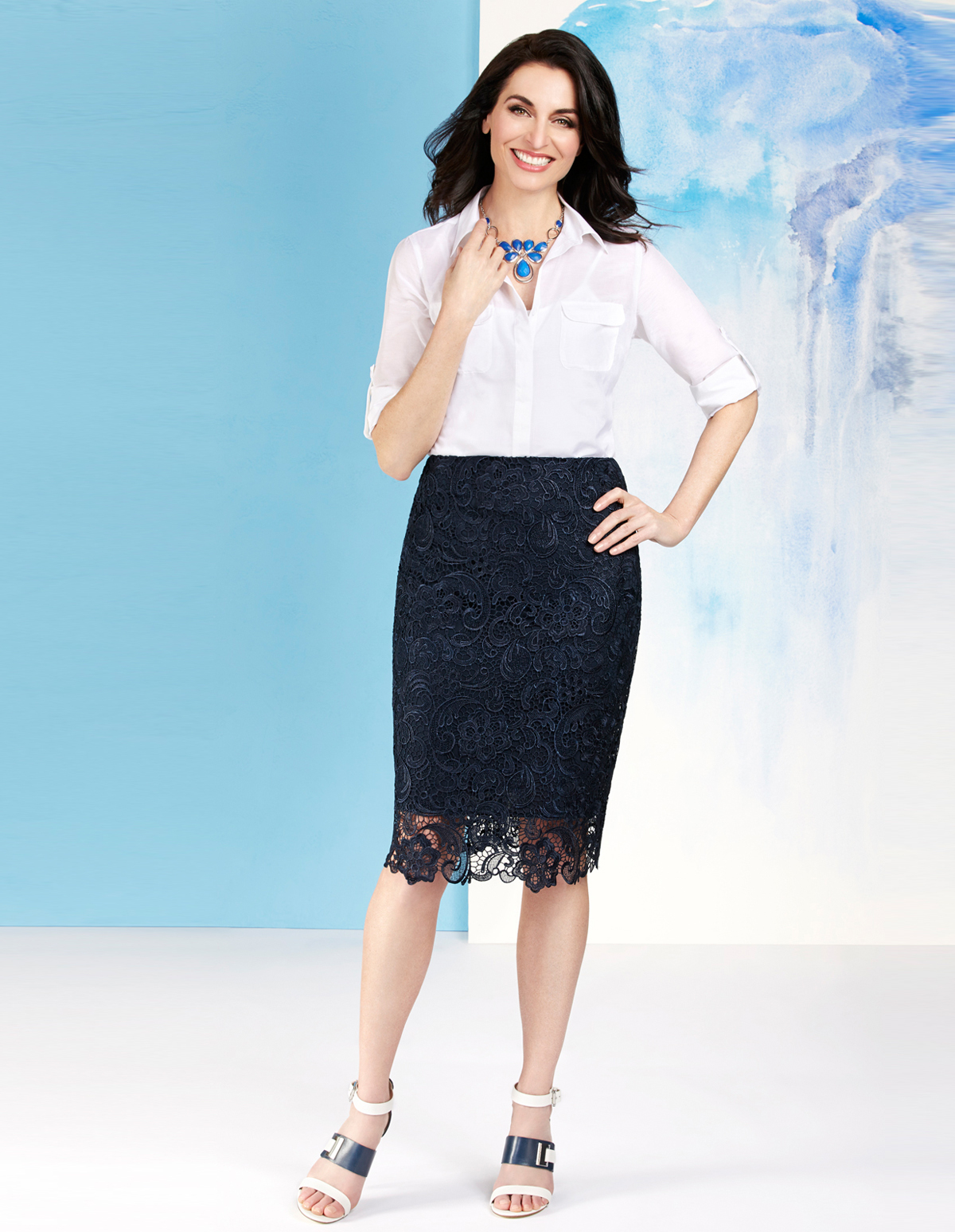 58a646427f ... Navy Lace Pencil Skirt, Navy, hi-res ...