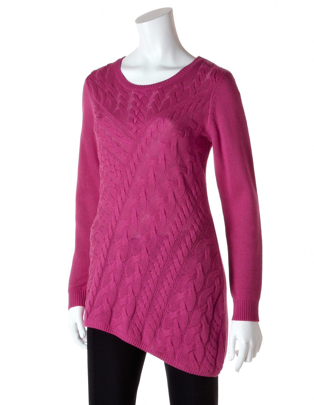 Asymmetrical Cable Knit Sweater Cleo