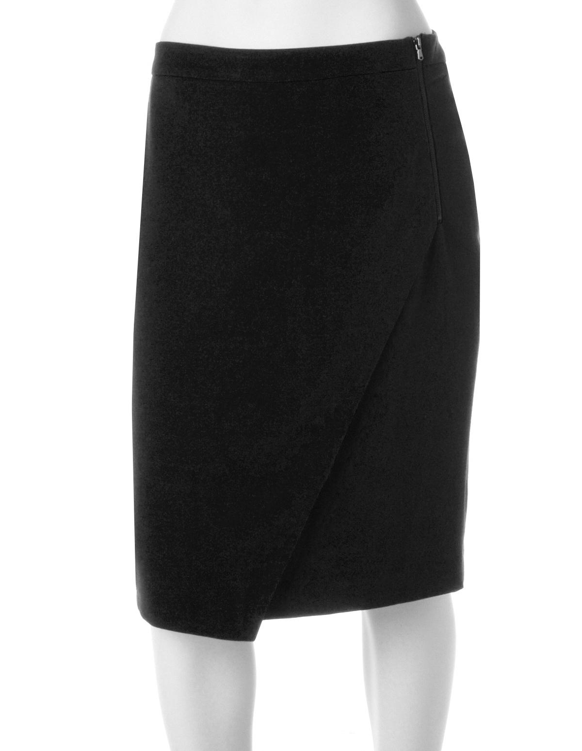 Black Wrap Pencil Skirt | Cleo