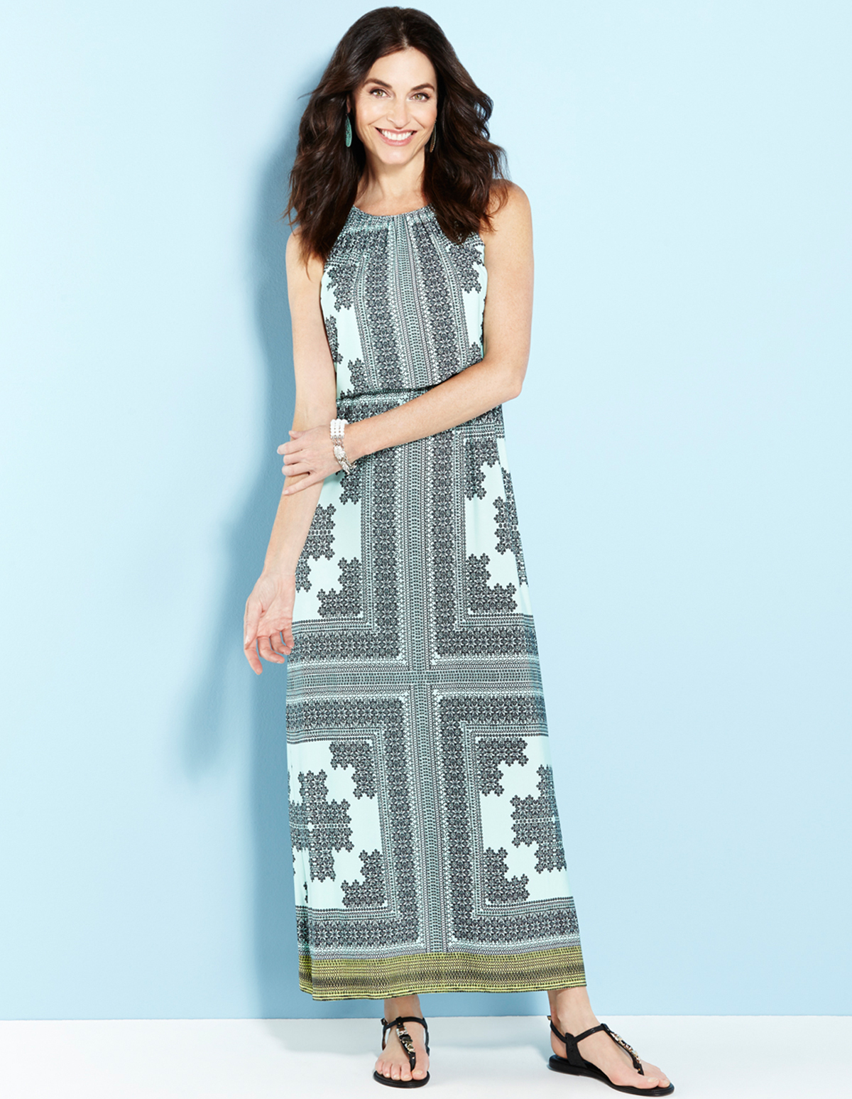 1ceed0d44cf Mint Tile Print Maxi Dress