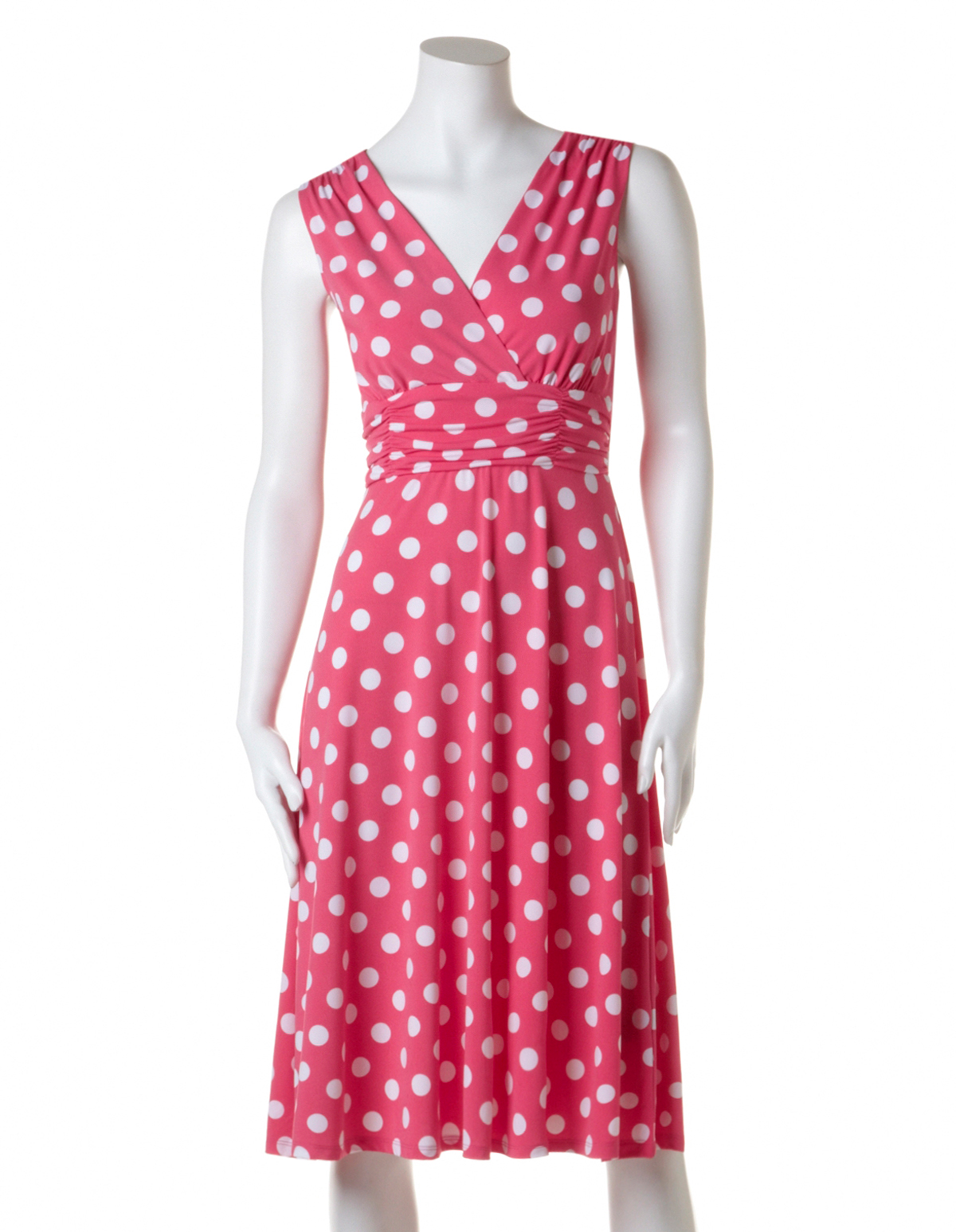 Pink Polka Dot Fit and Flare Dress  Cleo