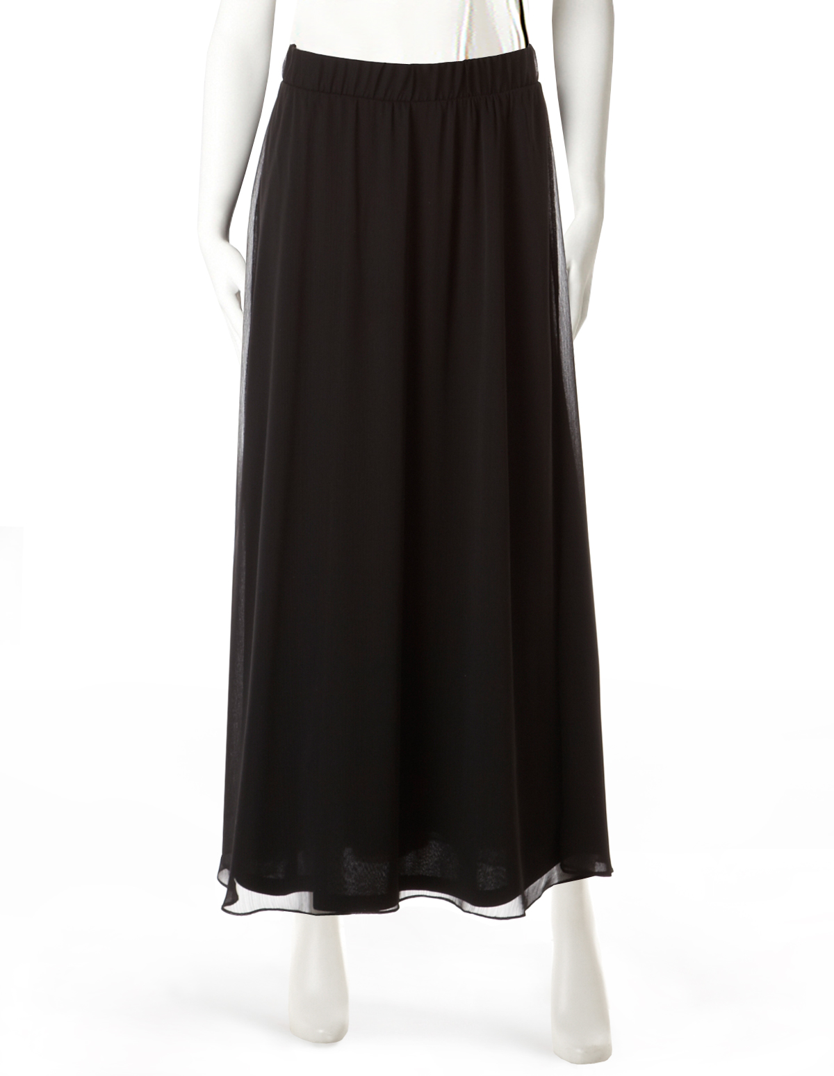 4e0aa547f3 Black Chiffon Maxi Skirt, Black, hi-res