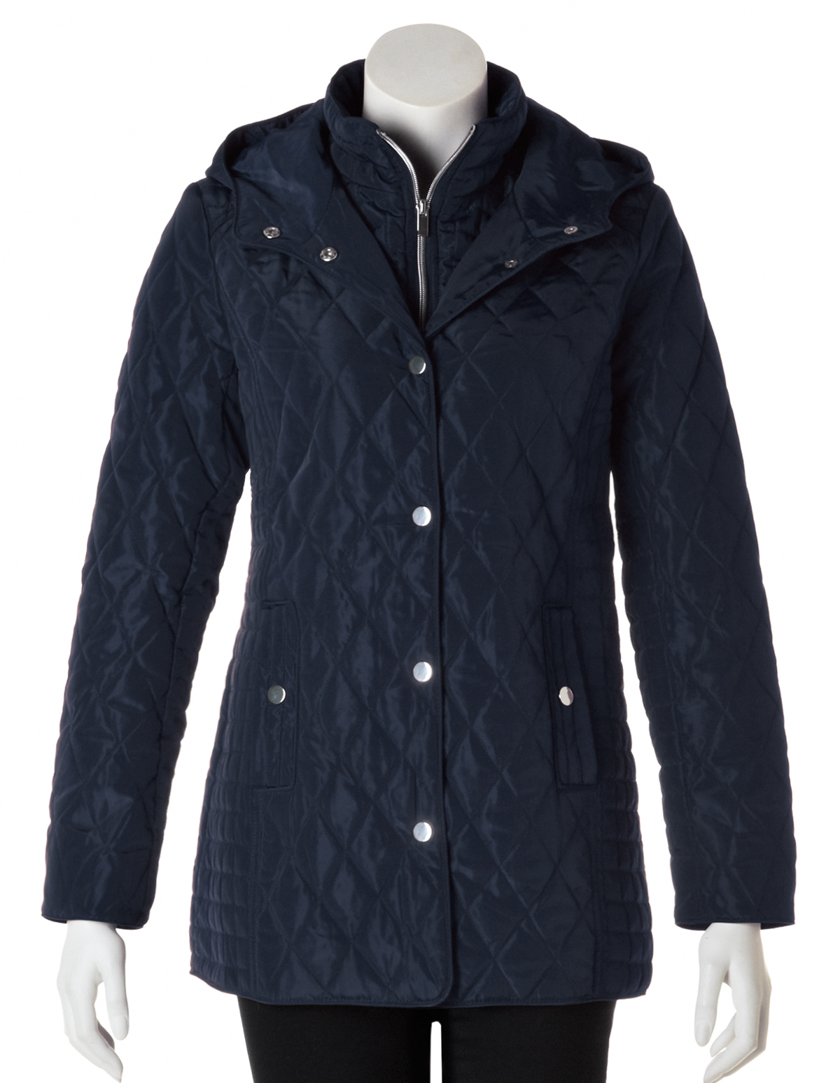 Navy Quilted Jacket With Hood Cleo