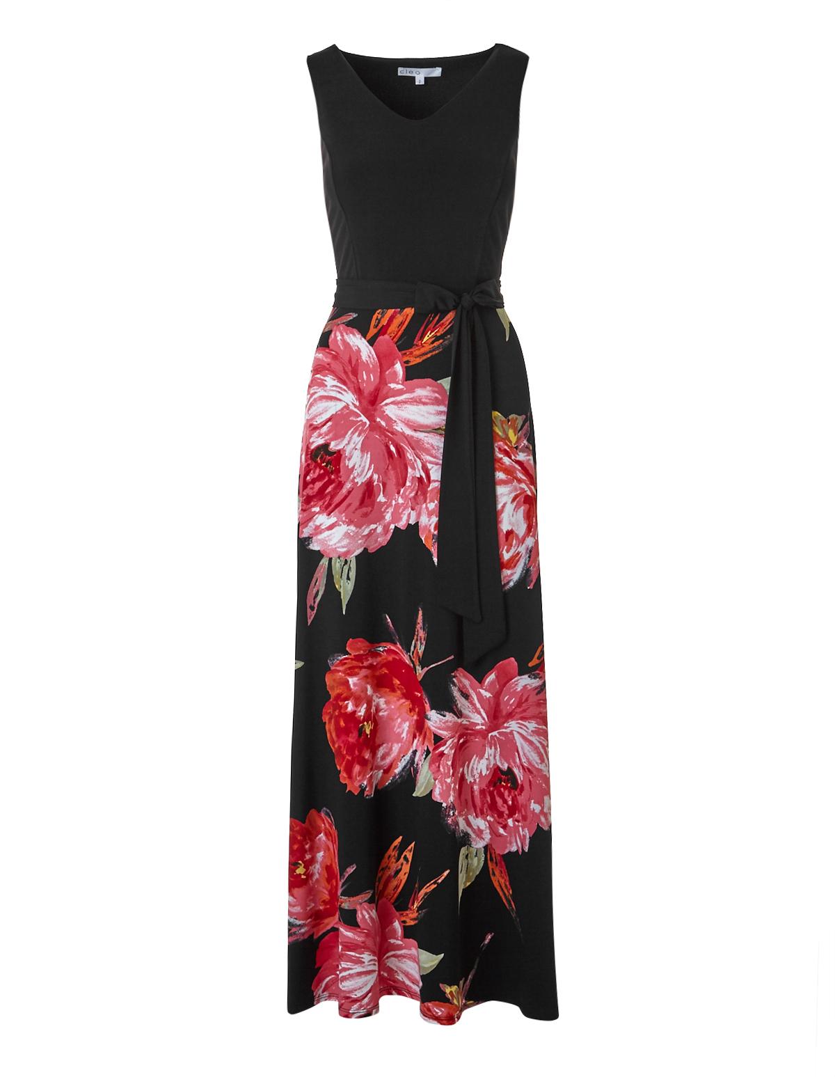 Pink floral maxi dress cleo pink floral maxi dress pinkblack hi res izmirmasajfo