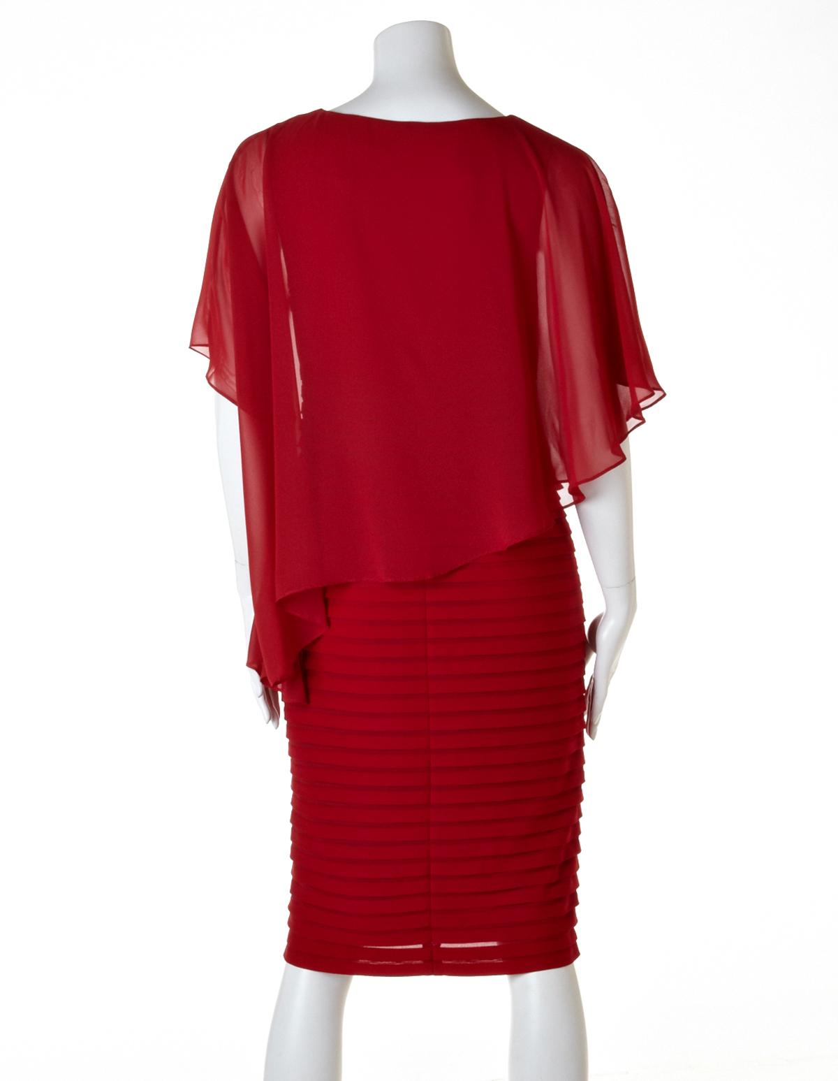 Red chiffon shift dress