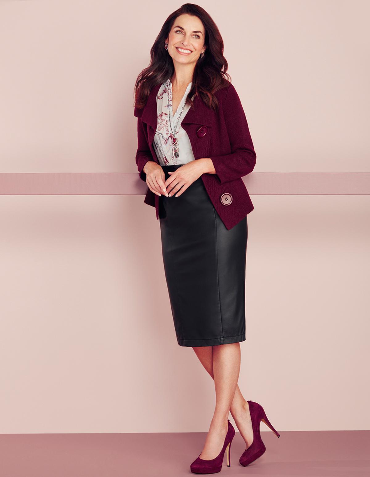 180029e1d99c Black Faux Leather Pencil Skirt, Black, hi-res ...