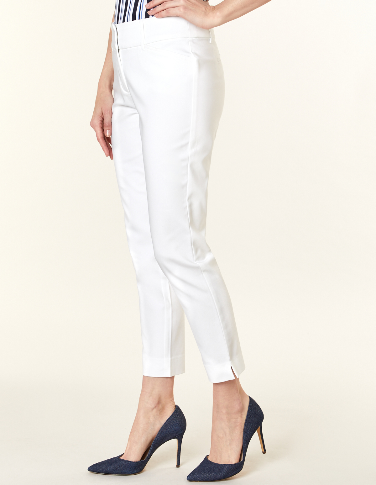 White Slim Leg Ankle Pant, White, hi-res