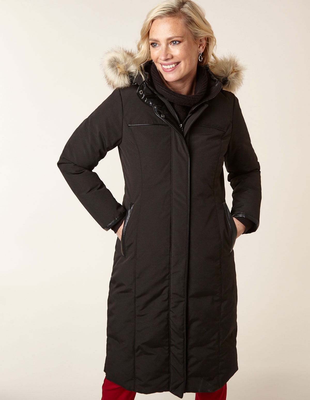 Black Long Commuter Down Coat, Black, hi-res