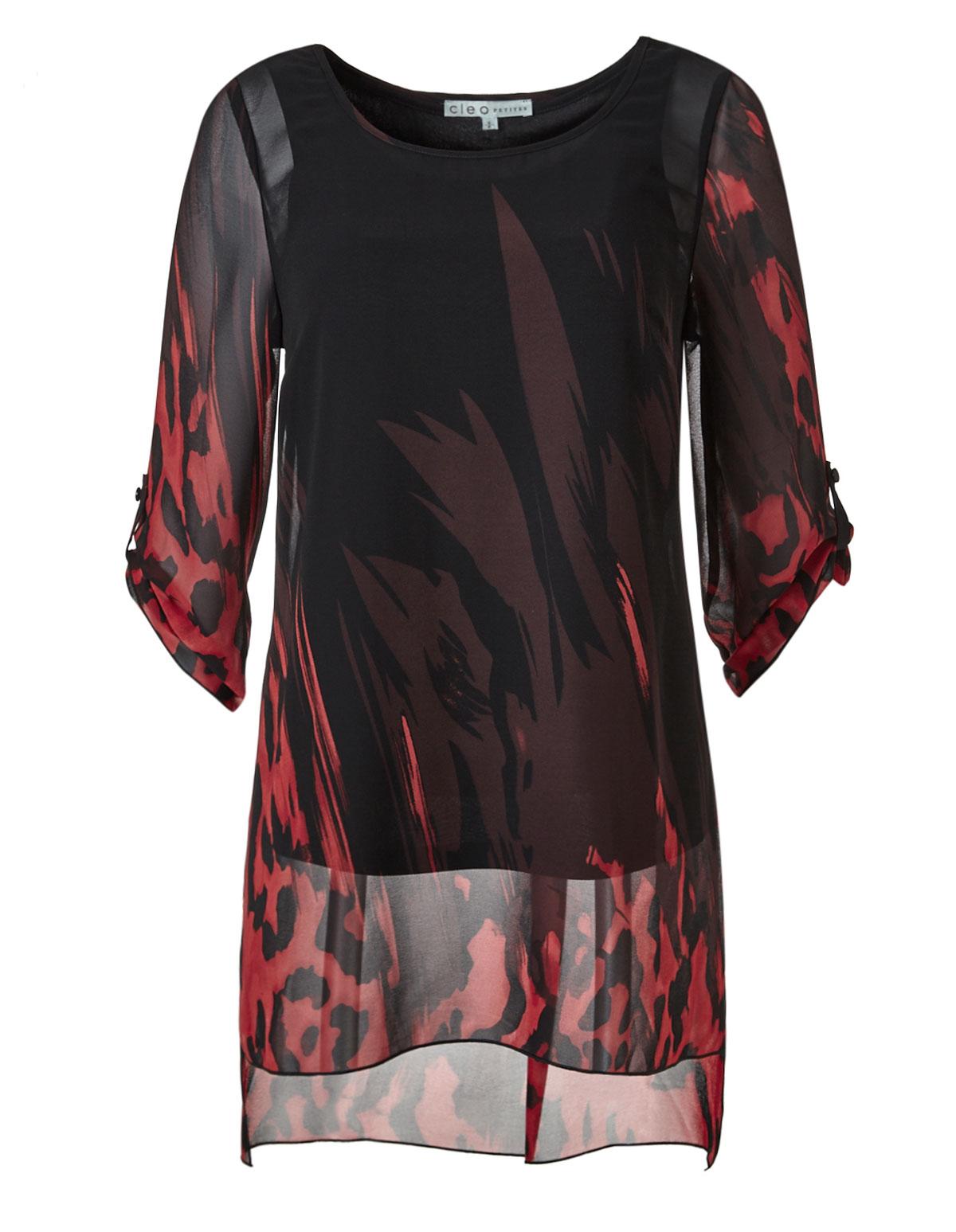 98d556fca1e2a Black Printed Tunic Blouse