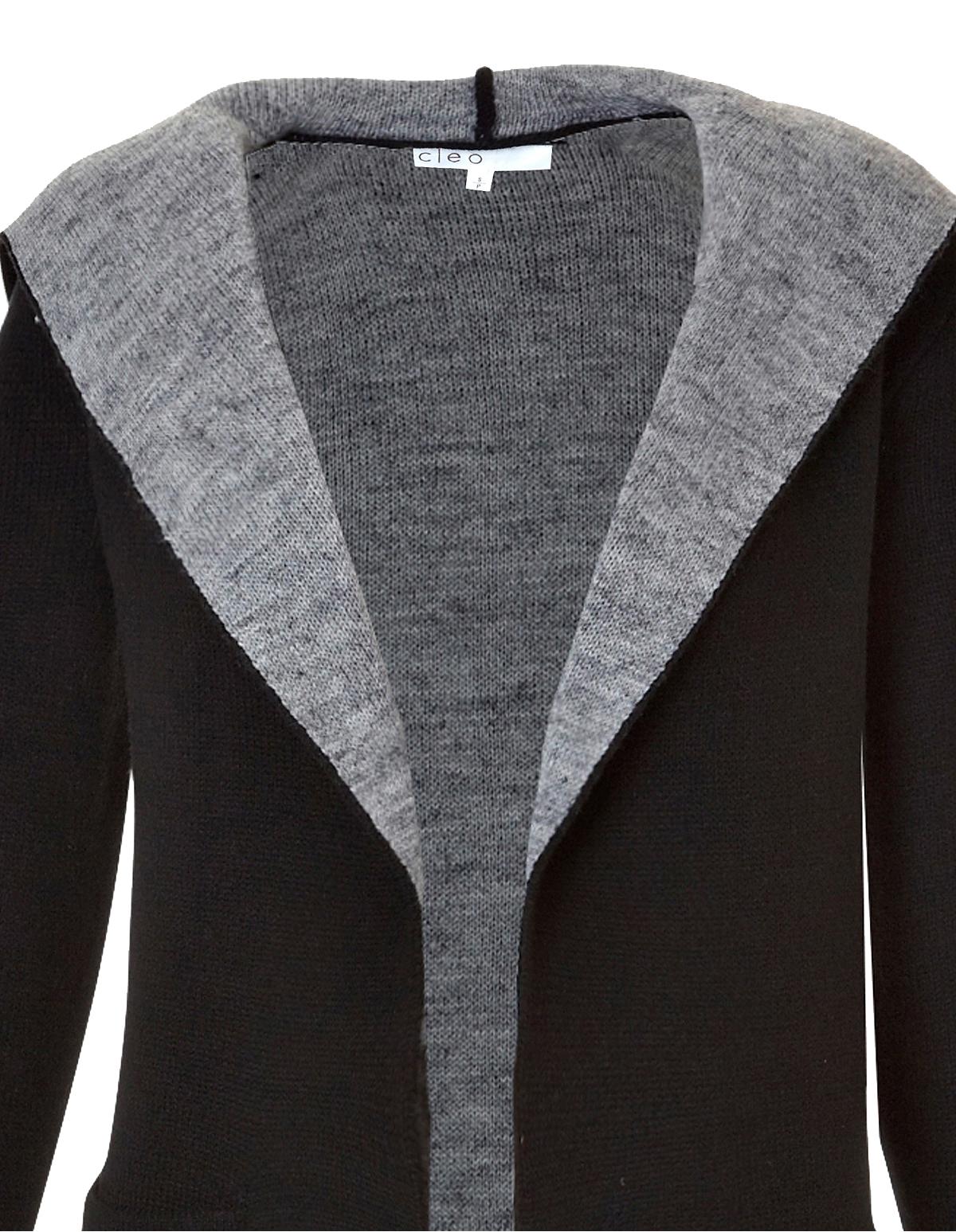 Long Hooded Open Drape Black Sweater | Cleo