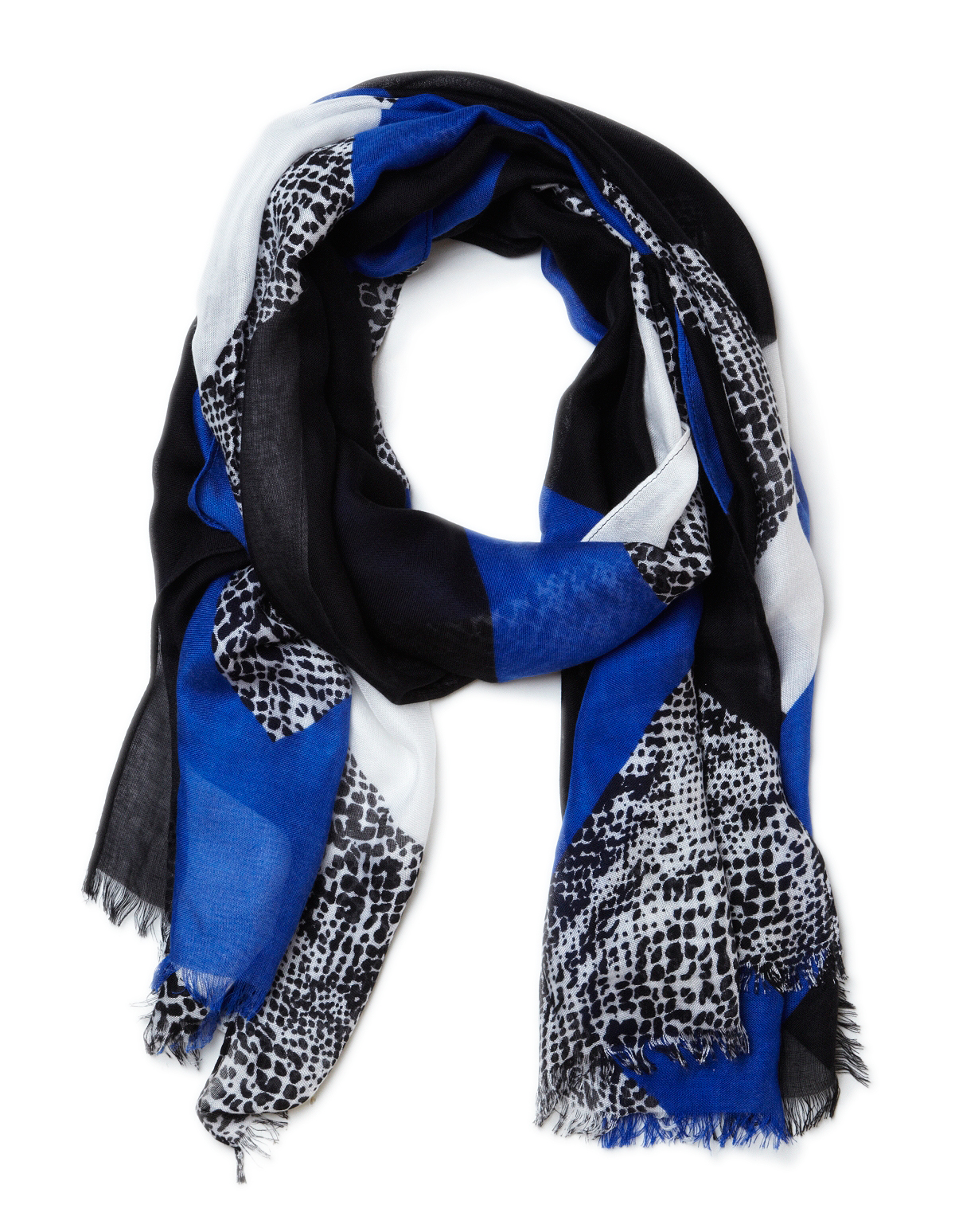 Blue Diagonal Patterned Scarf | Cleo