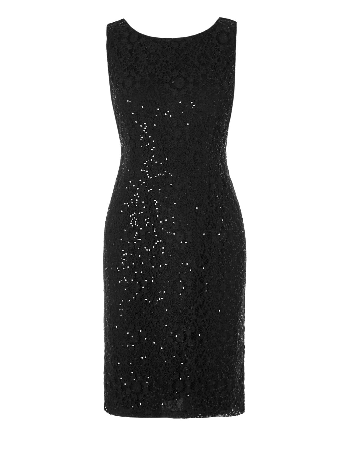 Black Sequin Lace Shift Dress