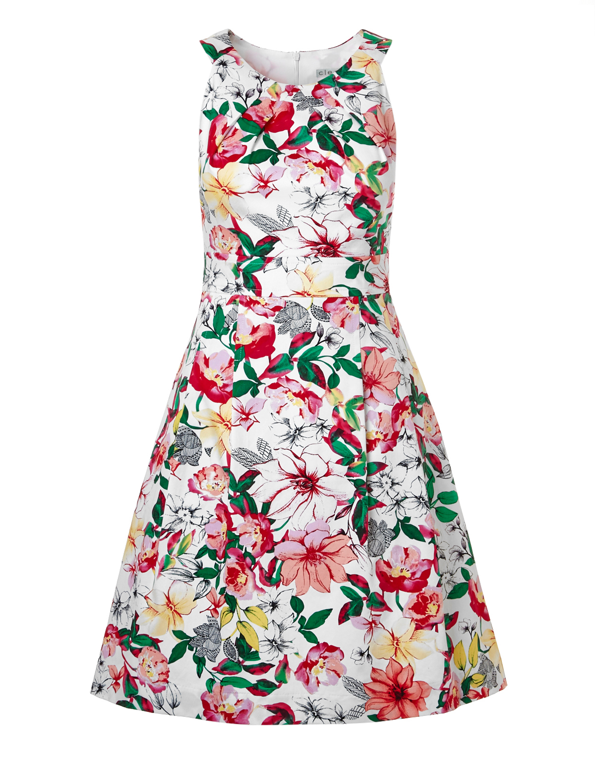Floral Sateen Twist Dress With Pockets Cleo