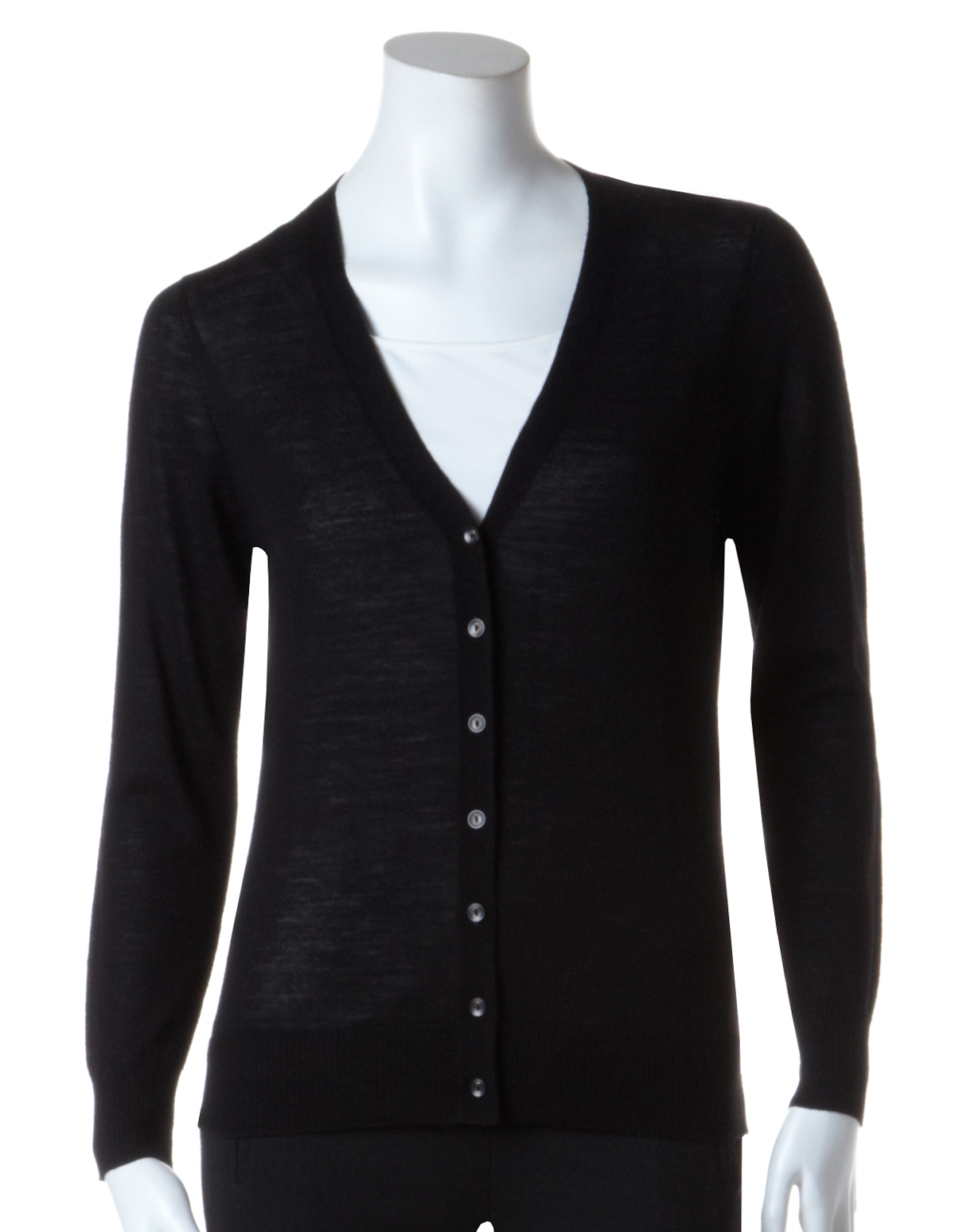 Black Merino Wool Cardigan | Cleo