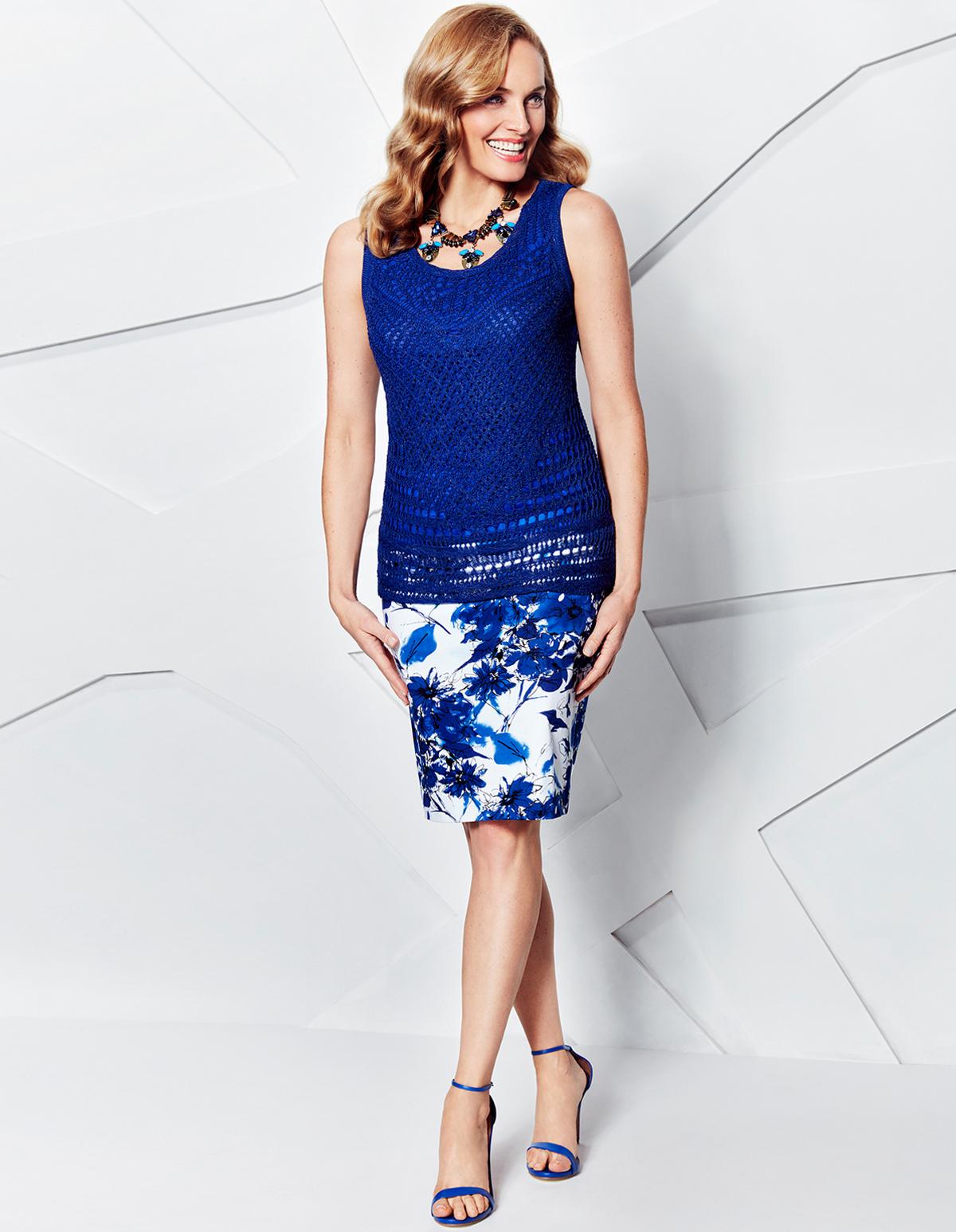 Ocean Blue Floral Pencil Skirt | Cleo