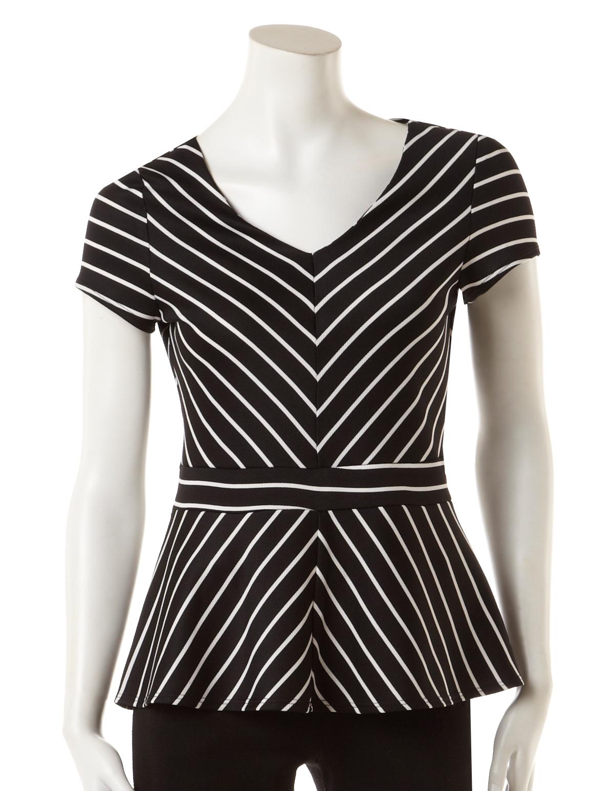 4dc2f7e77624fb Chevron Stripe Peplum Top, Black/White Stripe, hi-res