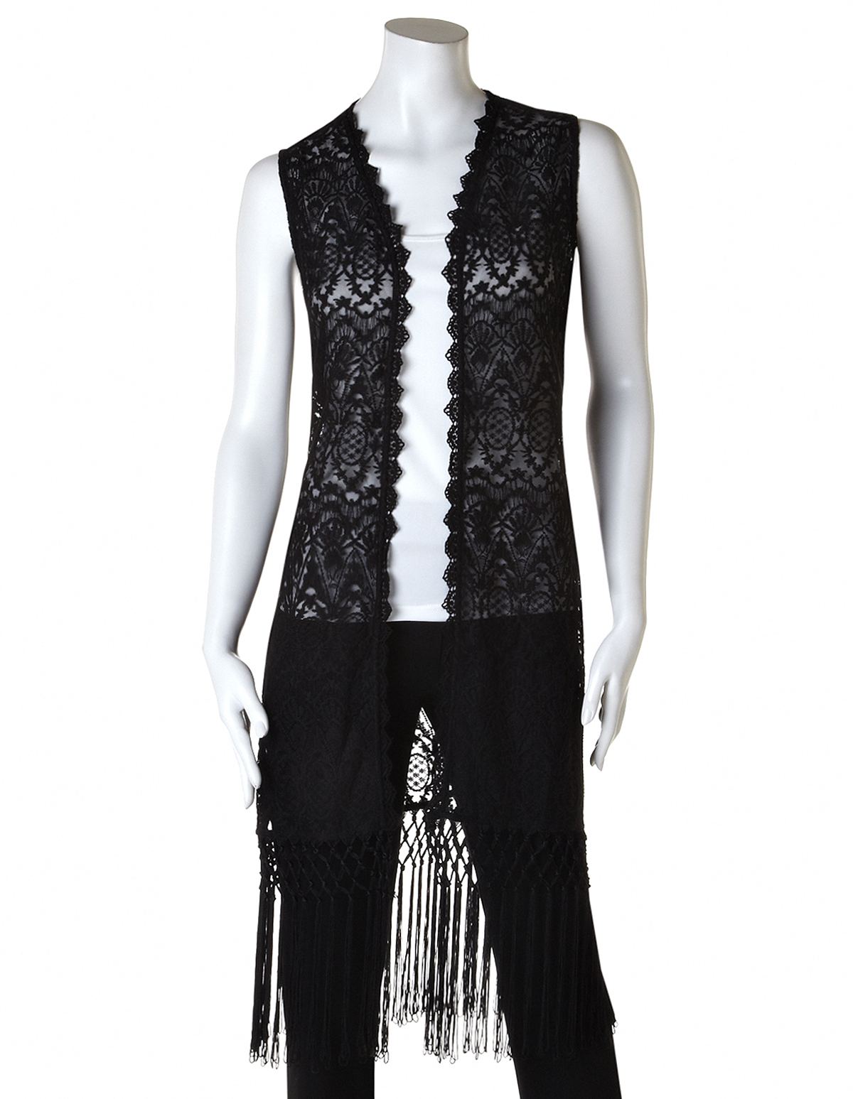 Fringed Crochet Sweater Vest, Black, Hires