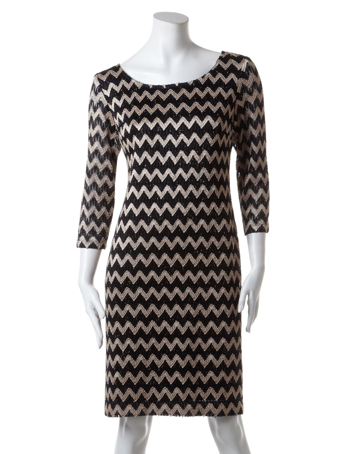 90a50a5725 Zig Zag Lace Overlay Shift Dress