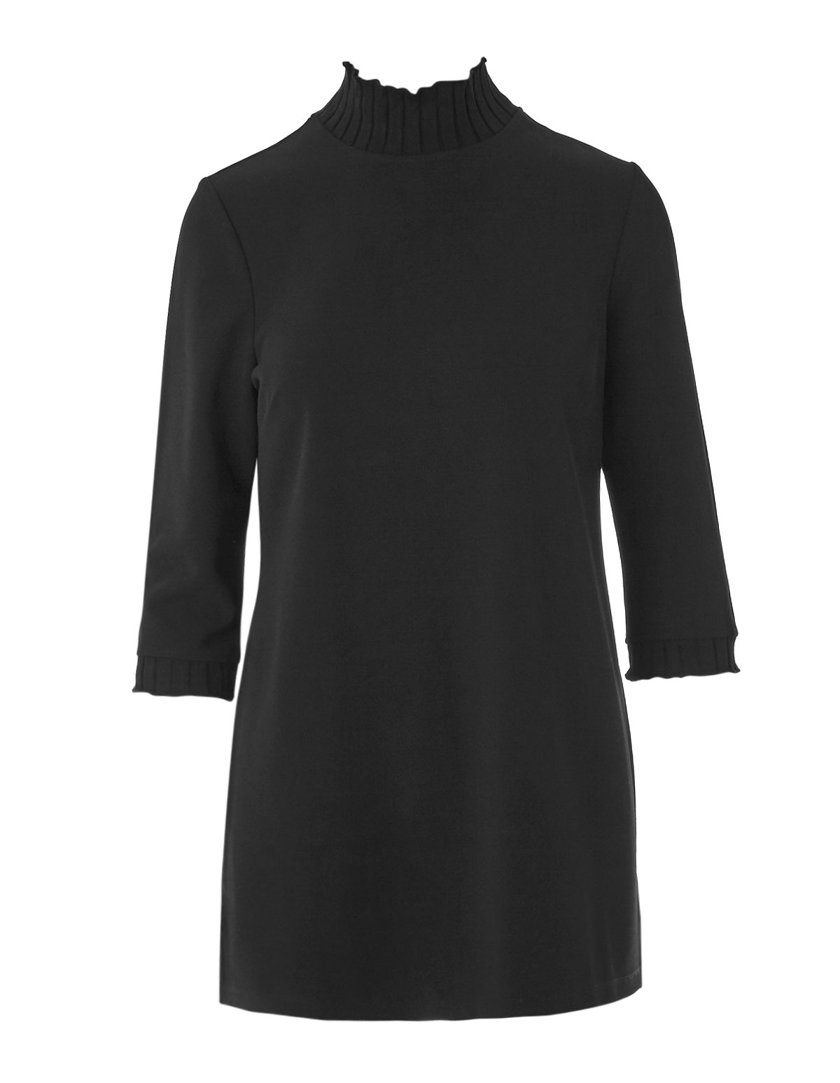 Black Crepe Knit Tunic Top, Black, hi-res