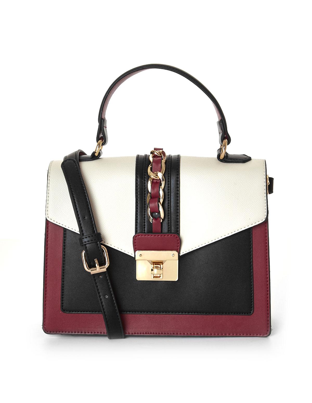 3d9ff98edfc Red Colour Blocked Square Handbag, Red, hi-res