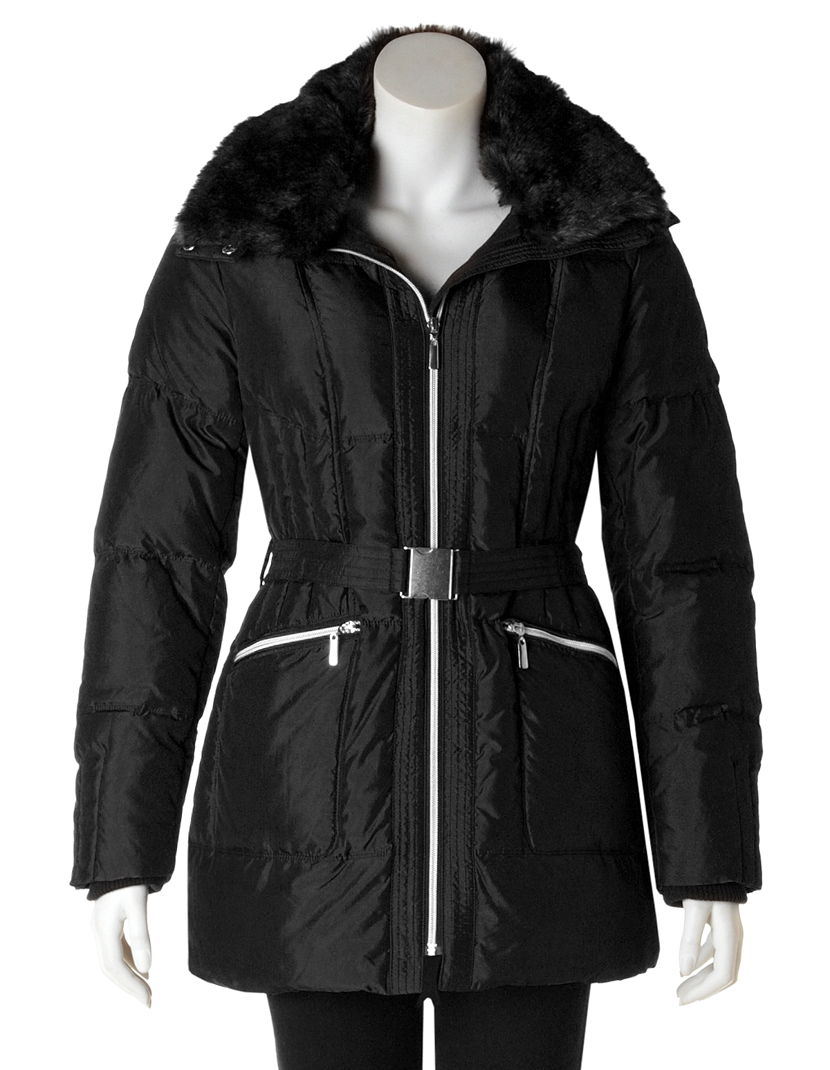 e89dab2e8 Black Fur Collar Down Coat | Cleo