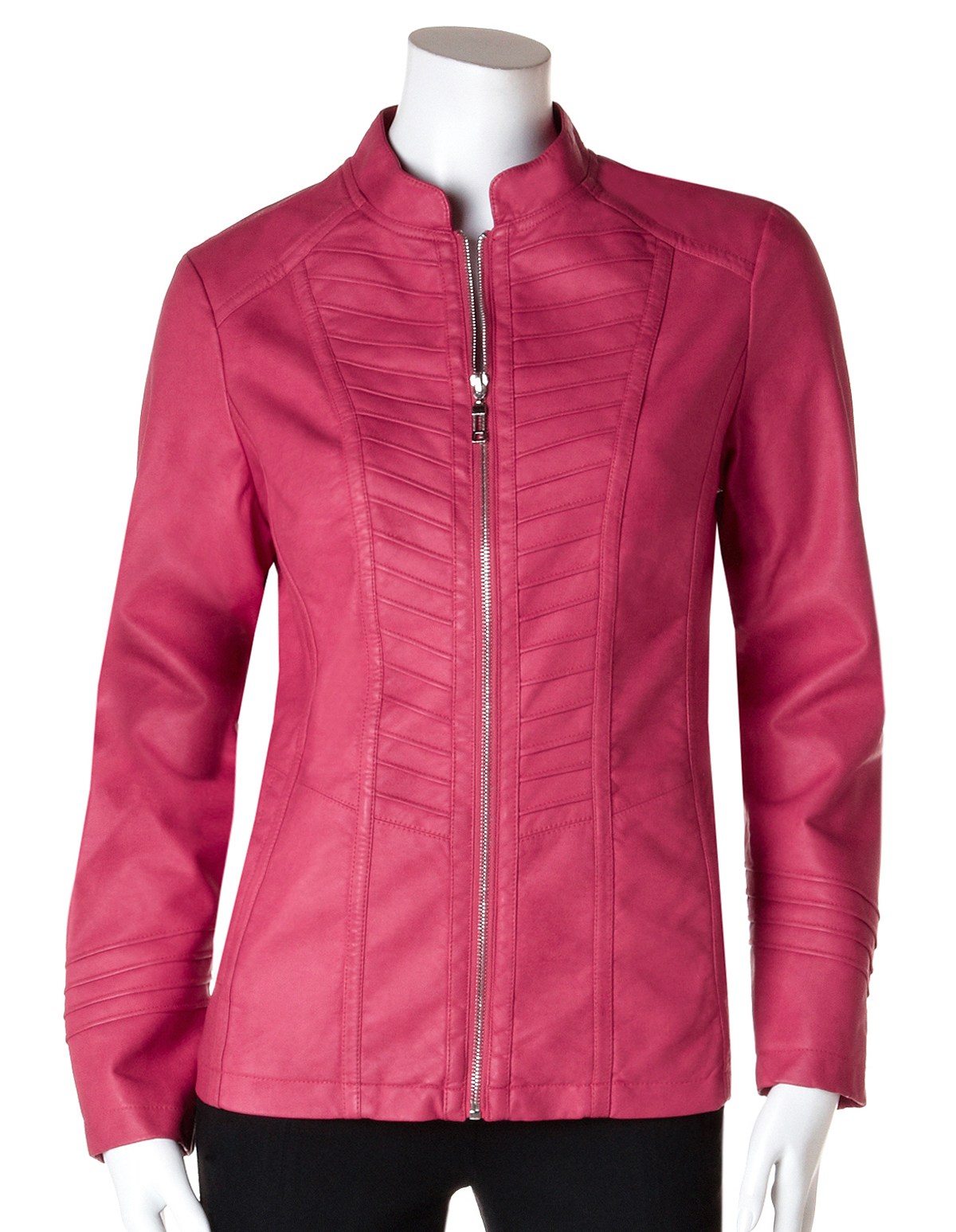 Coral Pink Pleather Jacket | Cleo