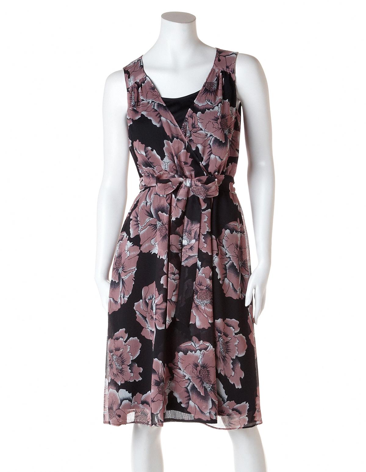 b326cdf196fd7 Blush Floral Fit and Flare Dress, Blush/Black/Ivory, hi-res