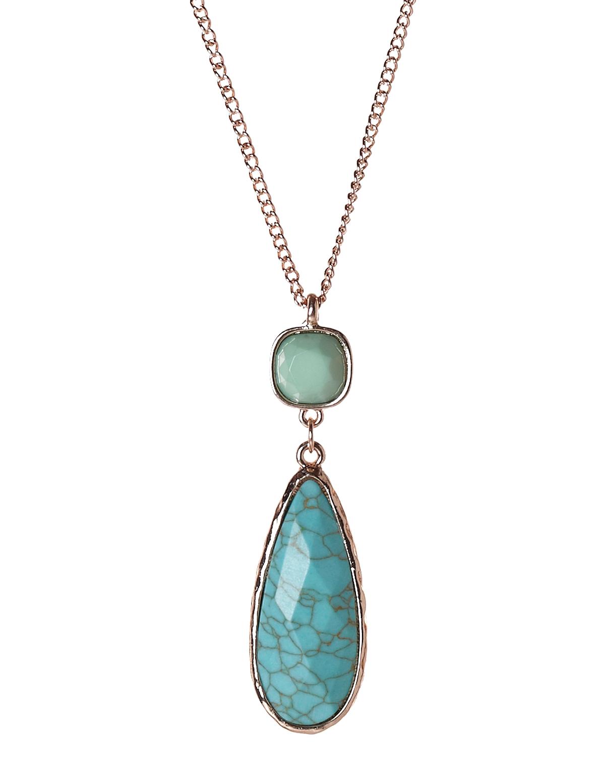 turquoise teardrop pendant necklace cleo