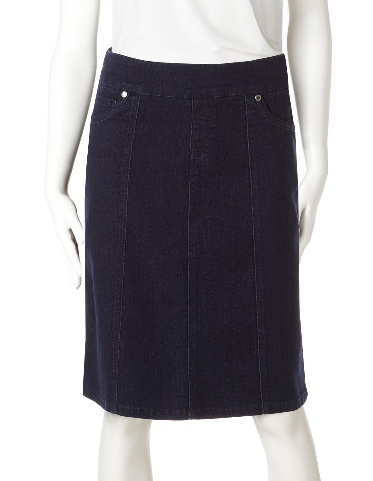Stretch Denim Jeans Pencil Skirt Indigo Dark Blue Stitch Pocket NEW 12-24