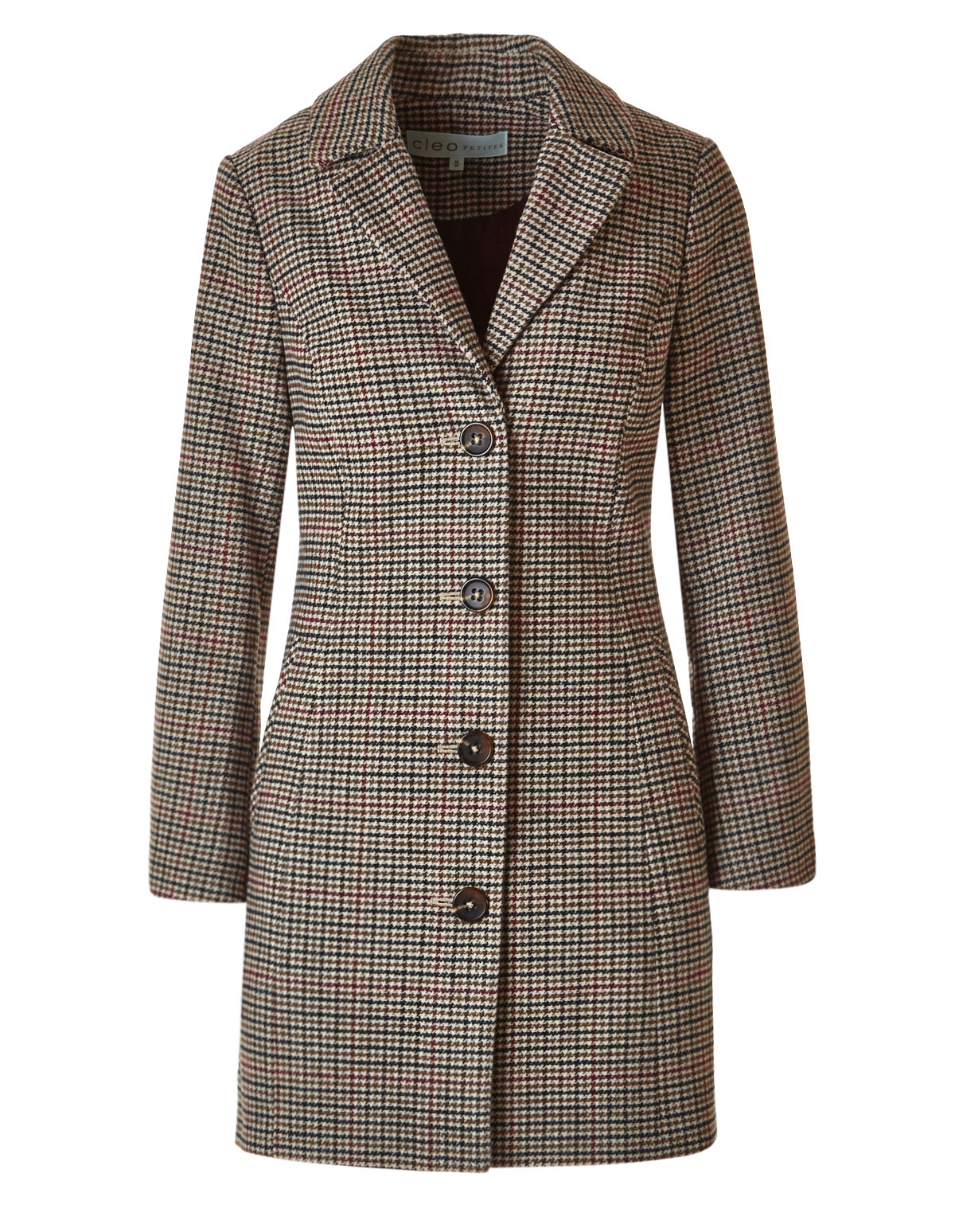 1ae26418f3e Brown Check Faux Wool Coat | Cleo